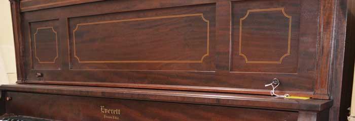 Everett upright piano detail At 88 Keys Piano Warehouse