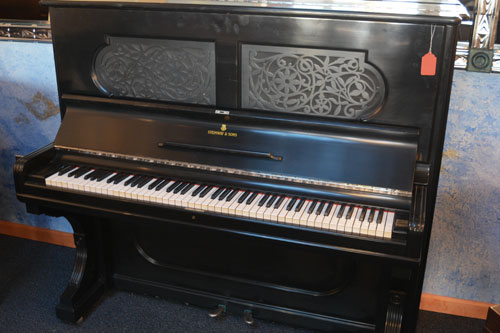 Steinway Upright pinao side view at 88 Keys Piano Warehouse