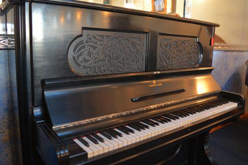 Steinway Upright piano end view at 88 Keys Piano Warehouse