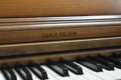 Cable Nelson spinet piano logo at 88 Keys Piano Warehouse