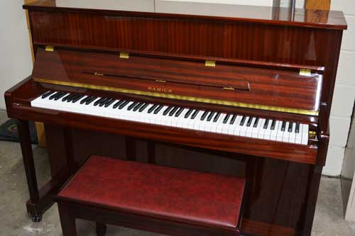 Samick console piano side view at 88 Keys Piano Warehouse
