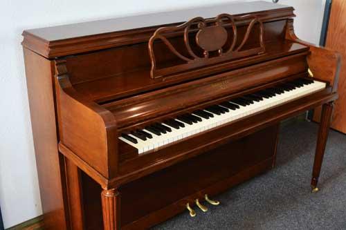 Sohmer studio piano sideview at 88 Keys Piano Warehouse