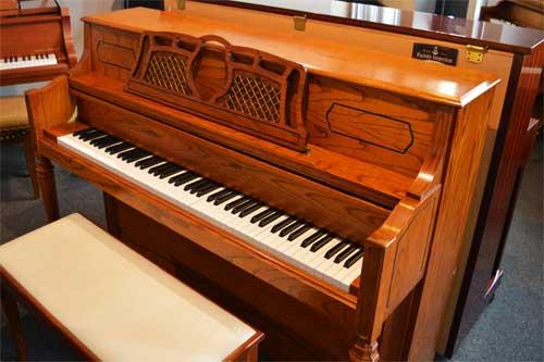 Samick studio piano side view at 88 Keys Paino Warehouse