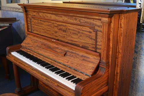 Steinway Model K upright piano right side view at 88 Keys Piano Warehouse