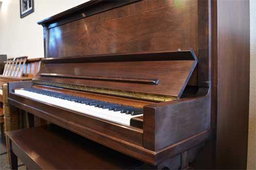 Steinway model K upright piano side view at 88 Keys Piano warehouse